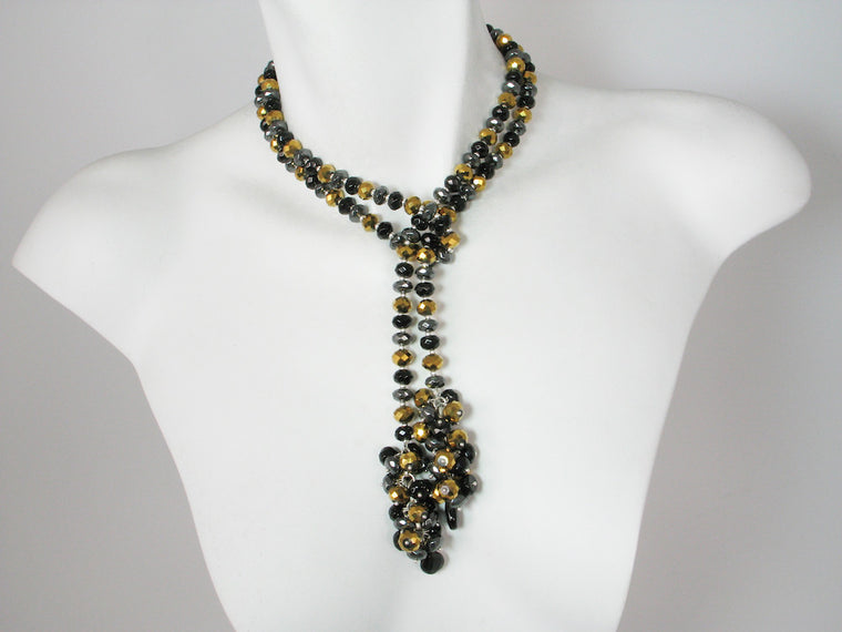 Stone Rondelle Lariat with Cluster Ends | Erica Zap Designs