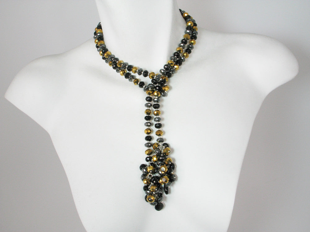 Stone Rondelle Lariat with Cluster Ends