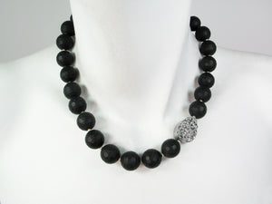 Onyx Necklace with Offset Silver Druzy Stone | Erica Zap Designs