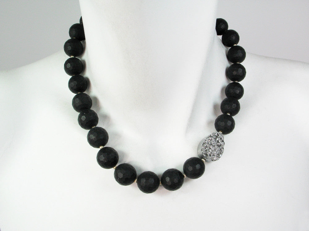 Onyx Necklace with Offset Silver Druzy Stone