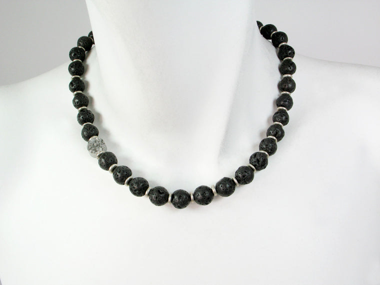 Lava Bead Necklace with Offset Druzy Stone - Erica Zap Designs