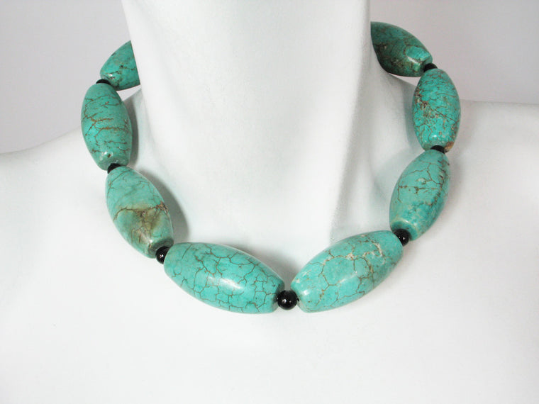 Turquoise & Onyx Necklace | Erica Zap Designs