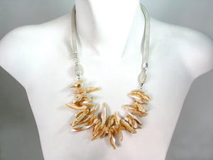 Mesh Necklace with Beige Irregular Shells | Erica Zap Designs