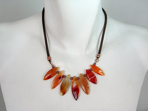 Mesh and Carnelian Marquise Necklace | Erica Zap Designs