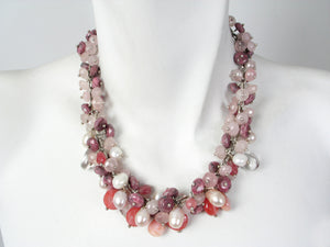 Pink Stone Cluster Necklace | Erica Zap Designs