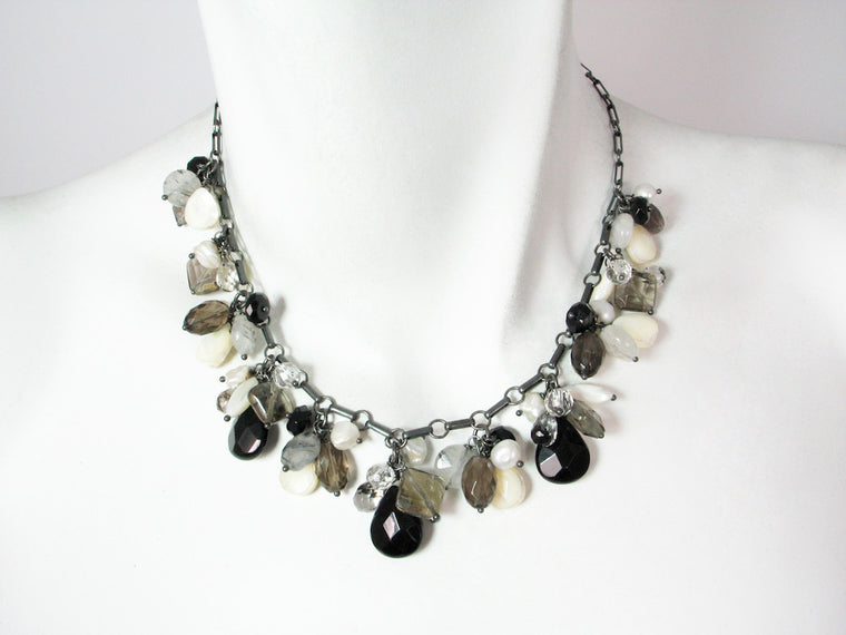 Stone Cluster Necklace | Onyx Mix