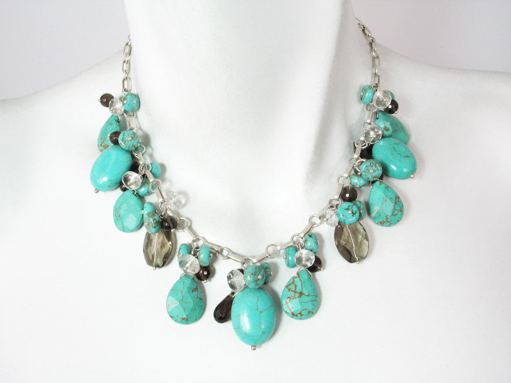 Stone Cluster Necklace | Turquoise Mix