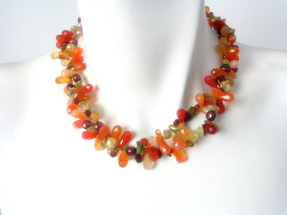 Faceted Carnelian and Peridot  Necklace