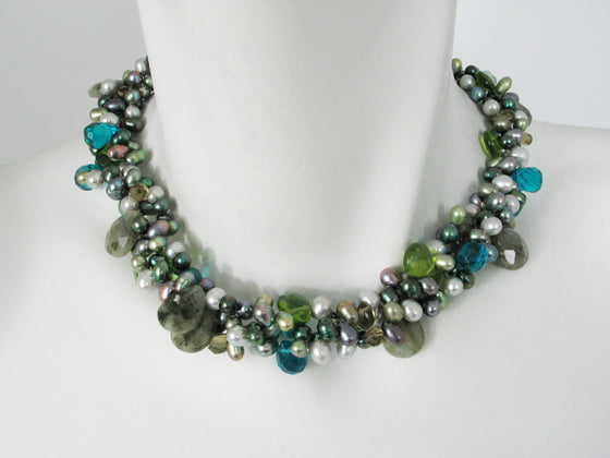 2-Strand Pearl & Stone Necklace - Erica Zap Designs