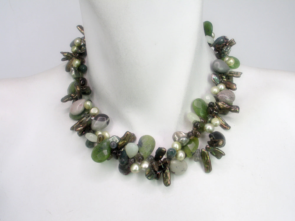 2-Strand stone &  Pearl Necklace