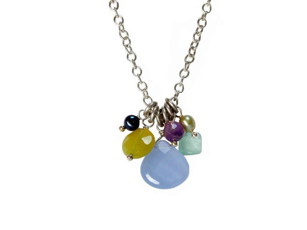 Sterling Chain with Faceted Stone Cluster Pendant | Erica Zap Designs