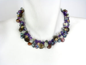 Keshi Pearl and Stone Twist Necklace | Erica Zap Designs