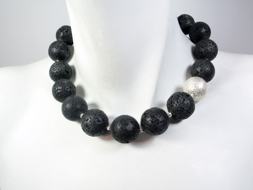 Lava Rock Necklace with Round Bead - Erica Zap Designs
