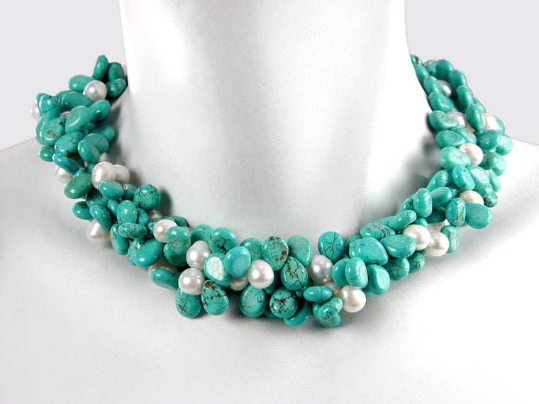 Turquoise & White Pearl 3-Strand Necklace | Erica Zap Designs
