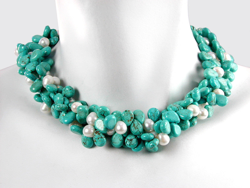 Turquoise & White Pearl 3-Strand Necklace