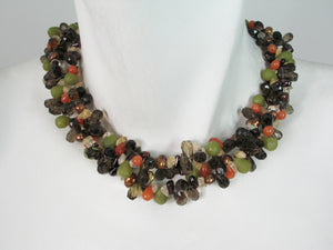 Smokey Quartz Carnelian and OliveJade Necklace | Erica Zap Designs
