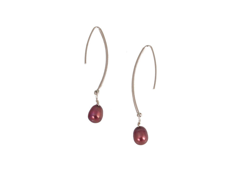 Sterling Wire Pearl Drop Earrings