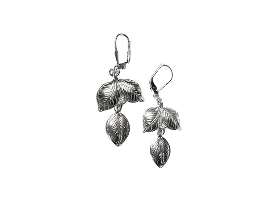 Double Drop Sterling Leaf Earrings | Erica Zap Designs