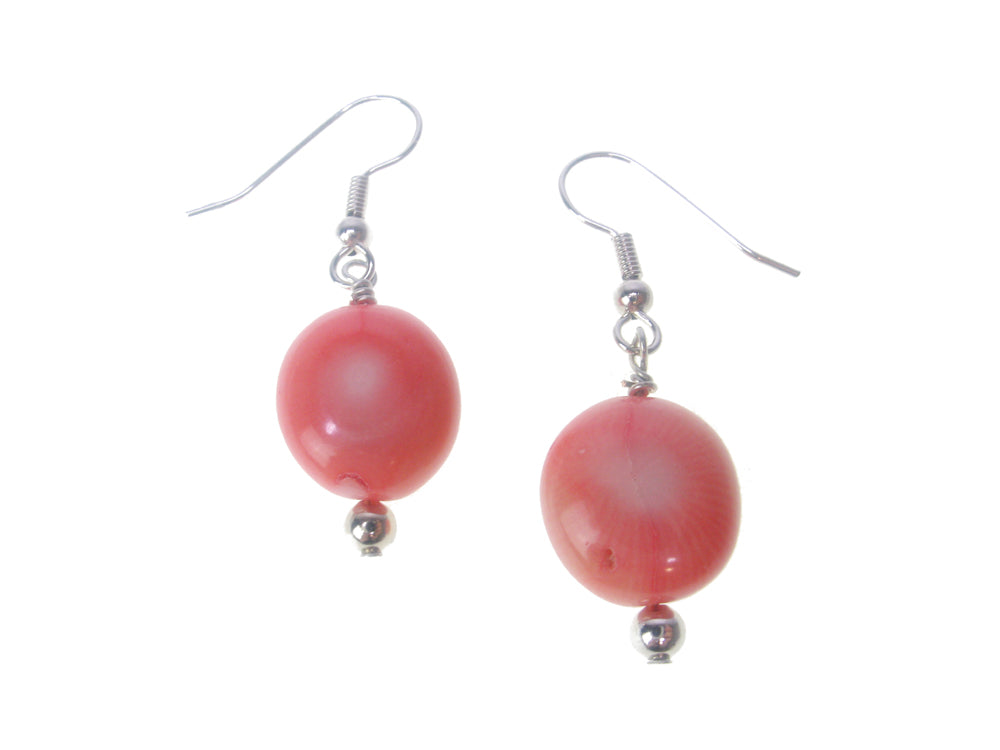 Pink Coral Oval Drop Earrings