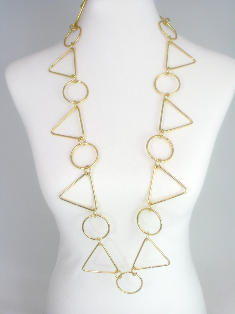 Triangle and Circle Geometric Wire Necklace