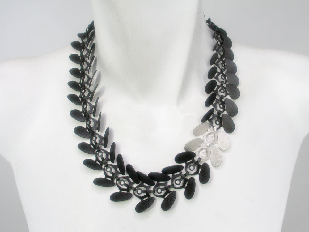 Black and Silver Petal Chain Necklace