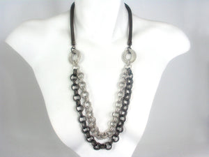 Mesh Necklace with Double Strands of Textured Chain | Erica Zap Designs