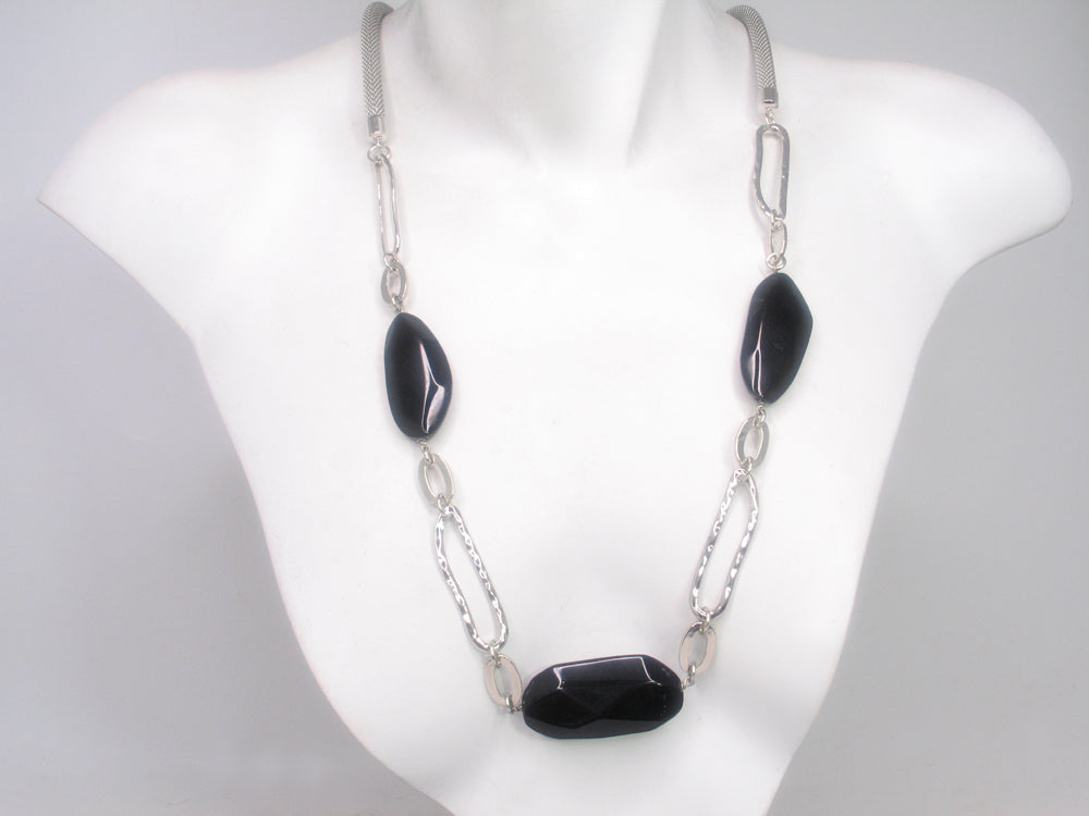 Mesh Necklace with Faceted Onyx Ovals