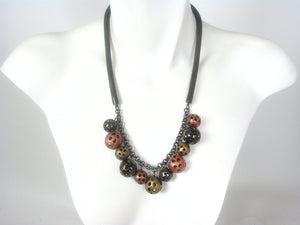 Perforated Beads and Mesh Necklace