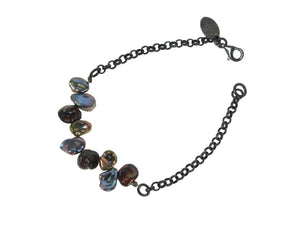 Multicolor Pearl Bracelet with Oxidized Chain | Erica Zap Designs