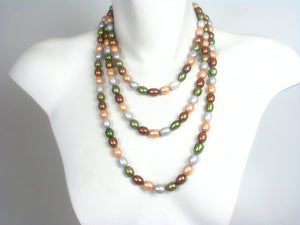 Long Strand of Multi Color Pearls