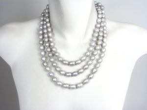 Long Strand of Grey Color Pearls