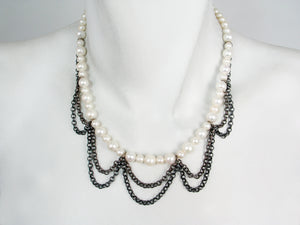 White Pearl & Oxidized Sterling Chain Necklace | Erica Zap Designs