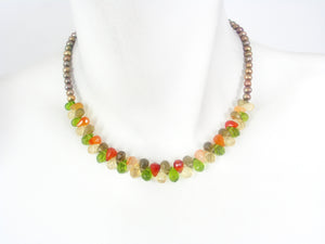 Multicolor Briolette and Pearl Necklace | Erica Zap Designs