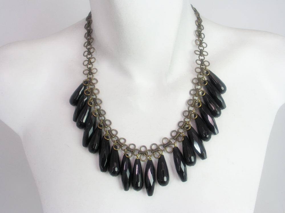Loop Chain Necklace with Onyx Drops