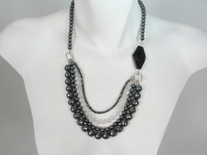 Three Strand Hematite and Crystal Necklace | Erica Zap Designs