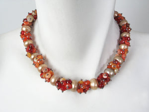 Pearl and Stone Cluster Necklace | Erica Zap Designs
