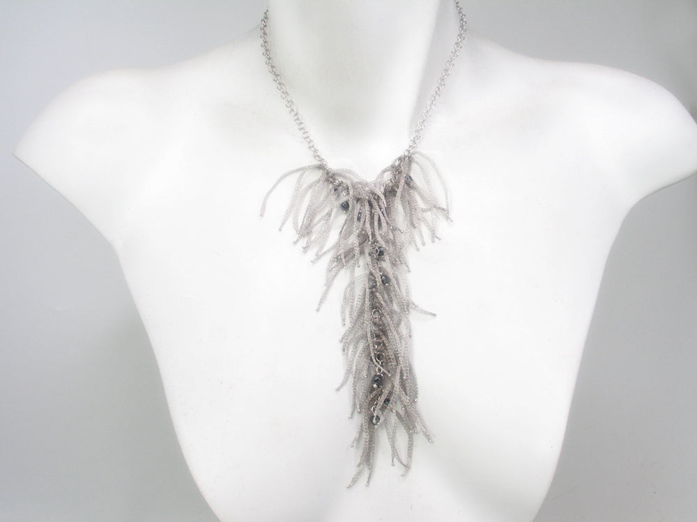 Sterling Fringe Y Necklace with Faceted Hematite Beads