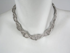 Mesh Criss Cross Sterling Necklace | Erica Zap Designs