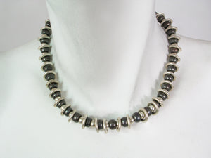 2 Tone Sterling Bead and Ring Necklace | Erica Zap Designs
