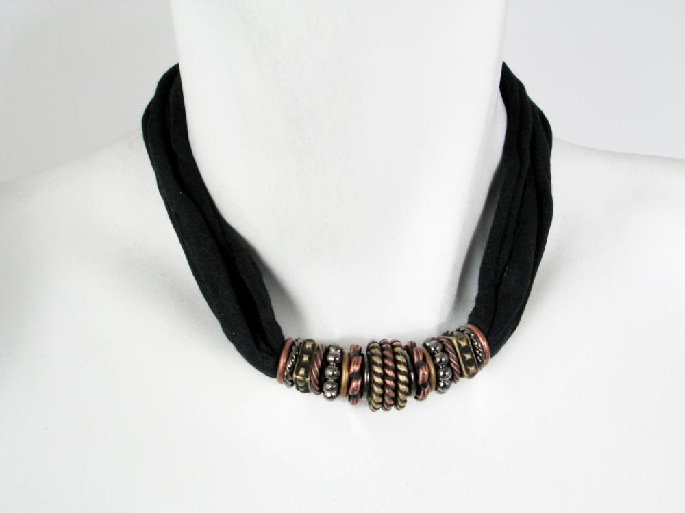 Fabric & Metal Necklace No. 4 | Erica Zap Designs