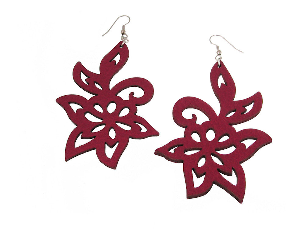 Swirl Flower Leather Earrings | Erica Zap Designs