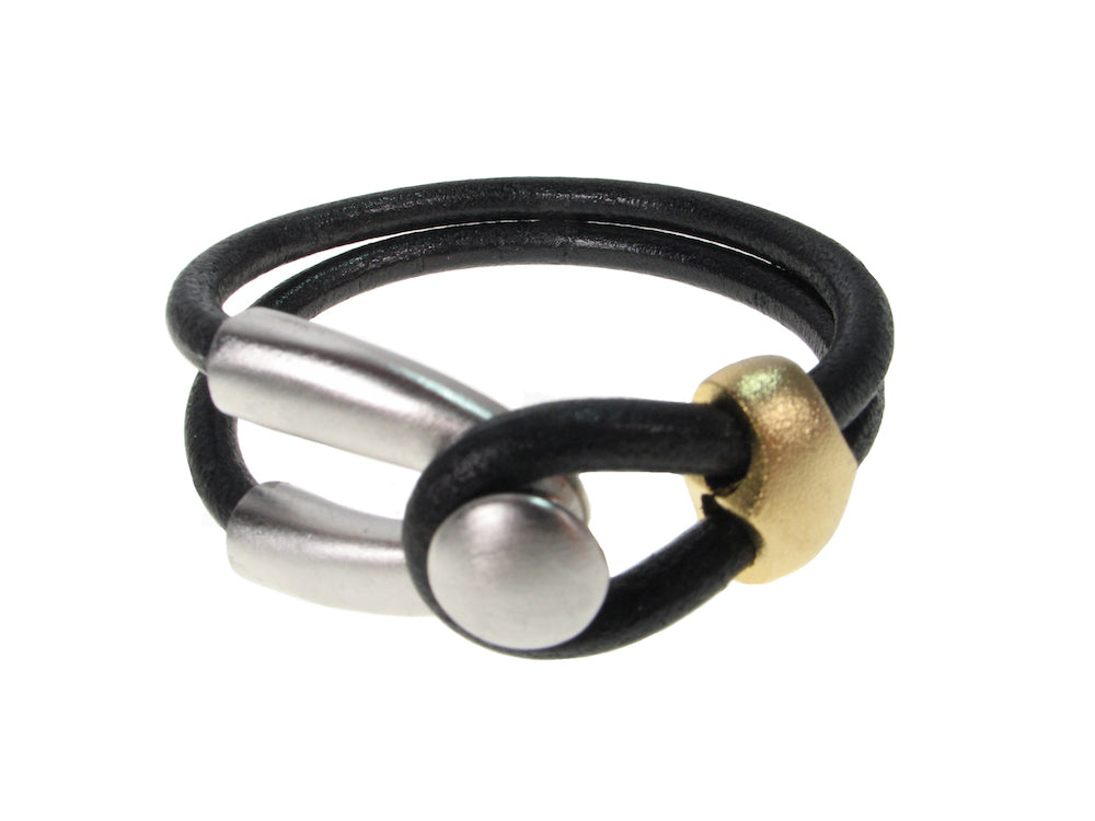 Cord Leather Bracelet | Double Strand Lasso & Slide | Erica Zap Designs