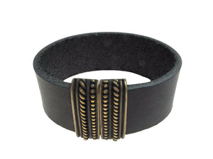 Band Leather Bracelet | Wide Textured Magnetic Bar Clasp | Erica Zap Designs