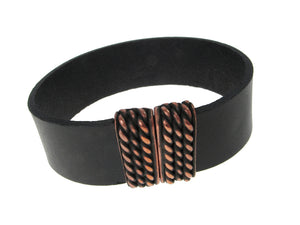 Band Leather Bracelet | Small Textured Magnetic Bar Clasp | Erica Zap Designs