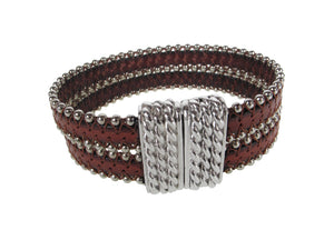Beaded Leather Bracelet | Double Strand with Magnetic Clasp | Erica Zap Designs