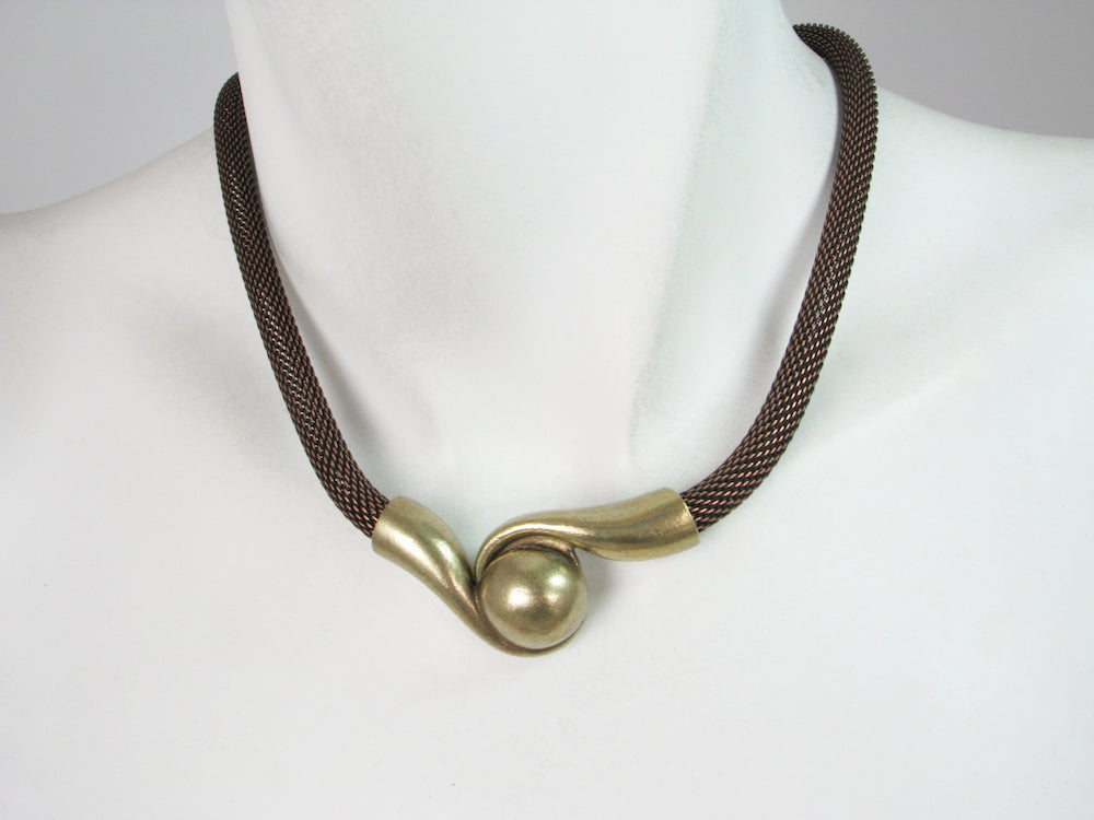 Mesh Necklace with Magnetic Swirl Ball Clasp | Erica Zap Designs