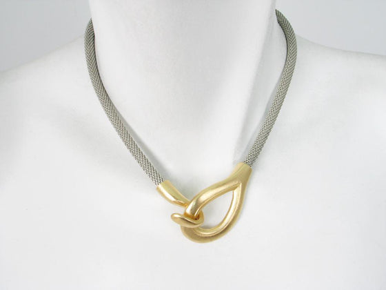 Mesh Necklace with Teardrop Hook Clasp | Erica Zap Designs