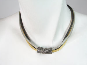3-Strand Mesh Necklace with Textured Magnetic Clasp | Erica Zap Designs