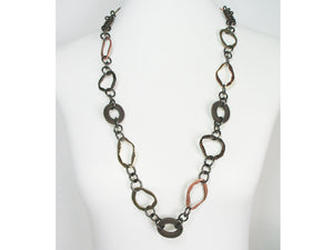 Long Hammered Metal & Mesh Necklace | Erica Zap Designs