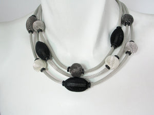 3-Strand Mesh Necklace with Spaced Beads | Erica Zap Designs
